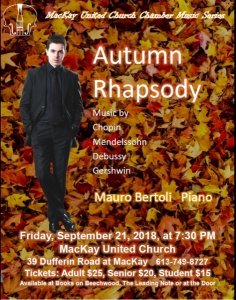 MacKay Concert Series: Autumn Rhapsody with pianist Mauro Bertoli @ MacKay United Church | Ottawa | Ontario | Canada